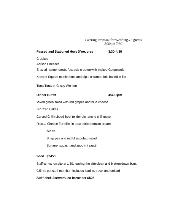 Catering Proposal Template 9+ Free Word, PDF Documents Download