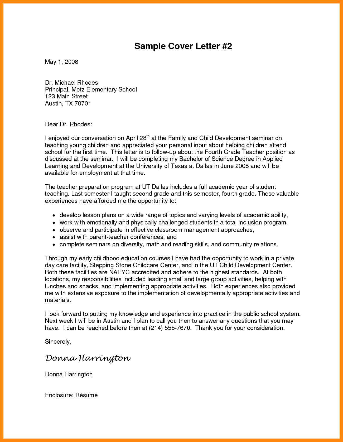 Sample Principal Cover Letter Roho4sensesco