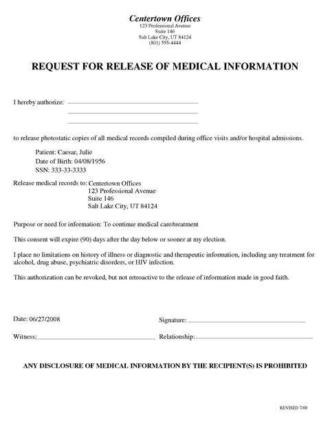medical records release form template Yeni.mescale.co