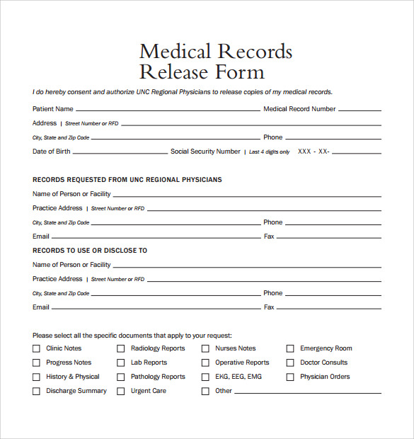 medical records release form sample Yeni.mescale.co