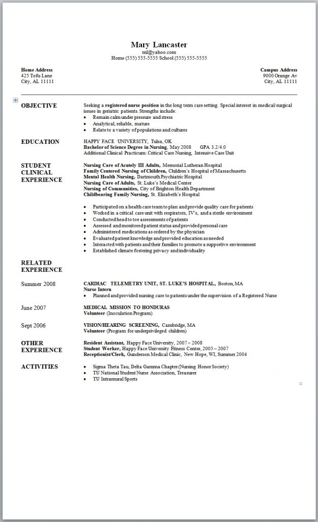Sample New Graduate Nurse Job Resume Objective New Graduate Nurse