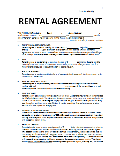 rental agreement free template lease agreement template doc rental