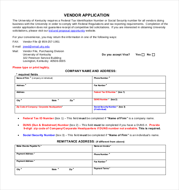 Vendor Application Template – 9+ Free Word, PDF Documents Download