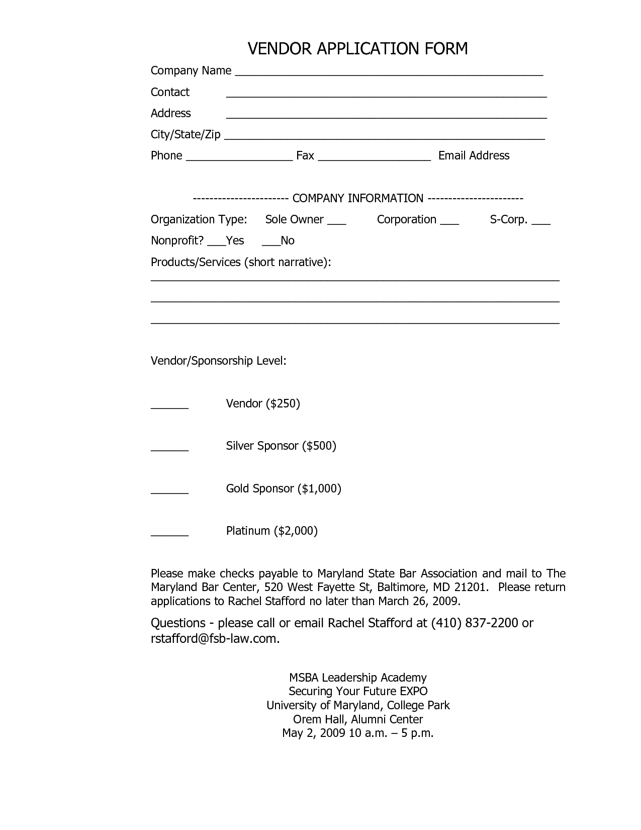 Best Photos of Sample Vendor Form Vendor Information Form Sample