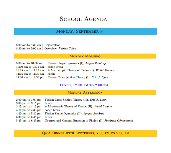 School Agenda Template. Meeting Formats Template Meeting Formats