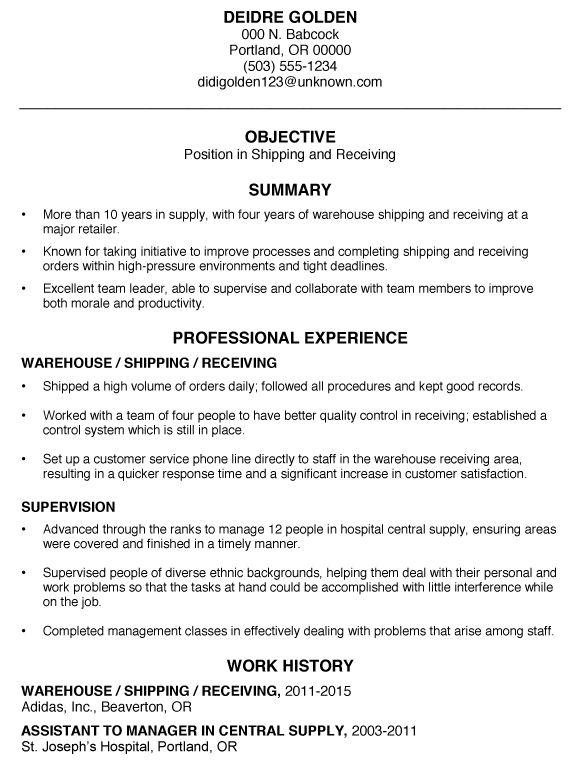 Functional Resume Sample: Shipping and Receiving