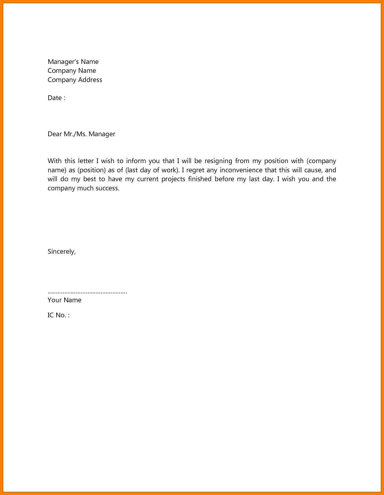 simple resignation letter example Klise.thegreaterchurch.co