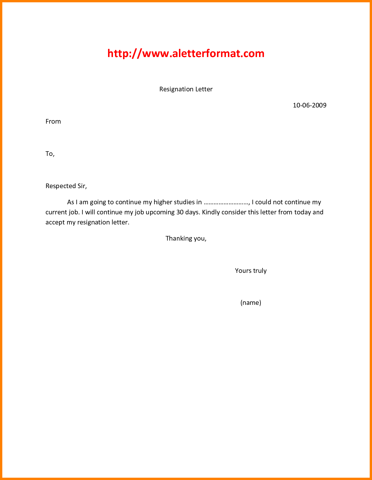 5+ simple resignation letter format | support our revolution