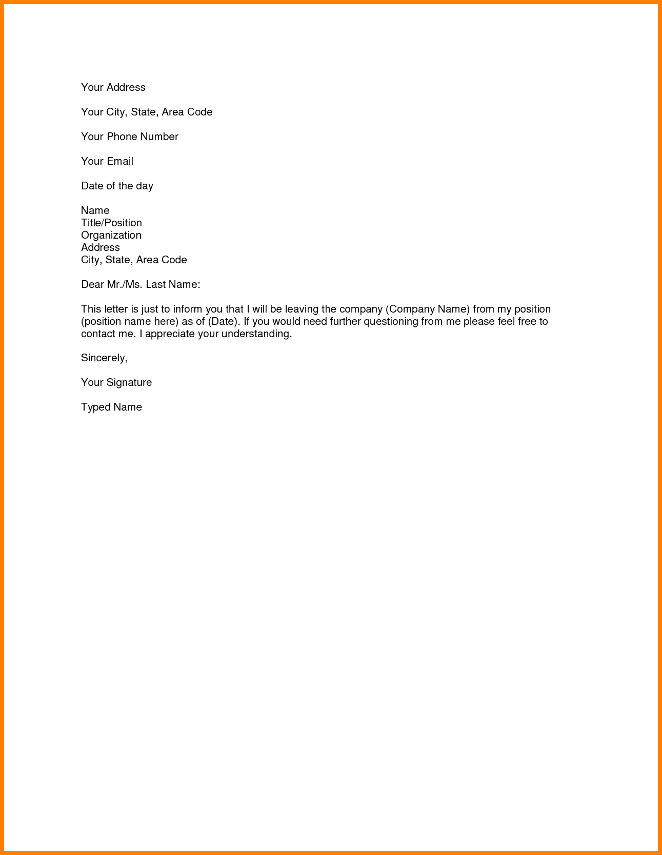 Resignation Letter Format New Simple Resignation Letter Simple