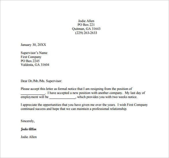 Simple Resignation Letters Resignation Letter Format Word Document