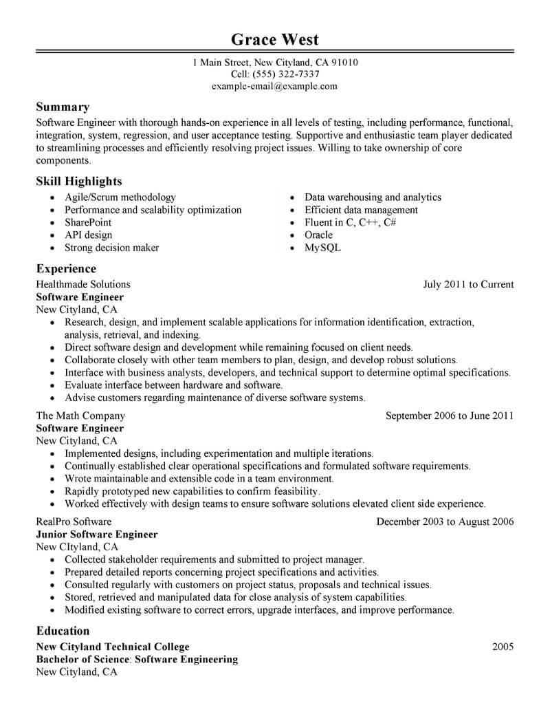 Best Software Engineer Resume Example | LiveCareer