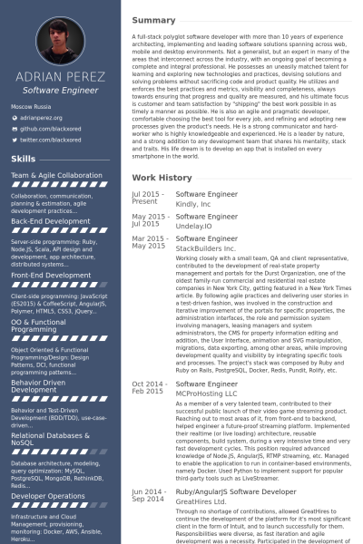 Software Engineer Resume samples VisualCV resume samples database