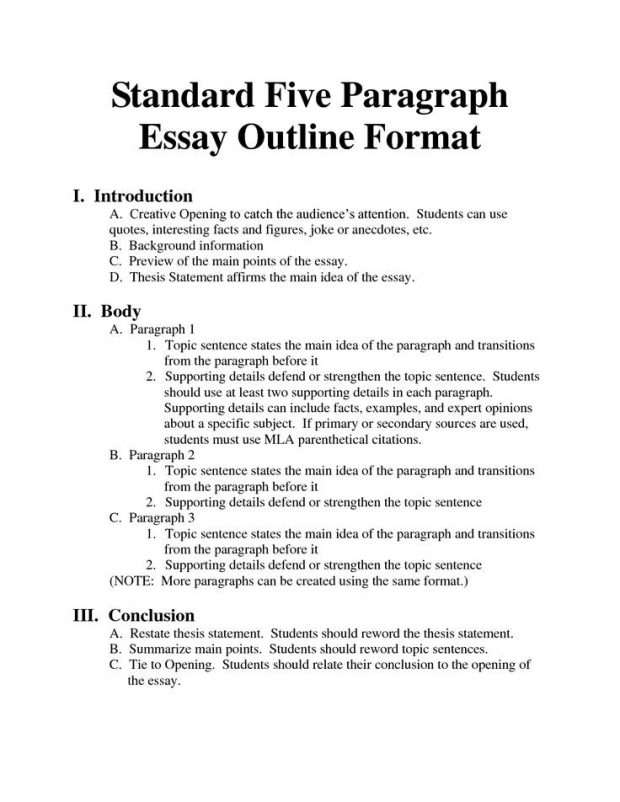 Standard outline format creative icon writing help essays for