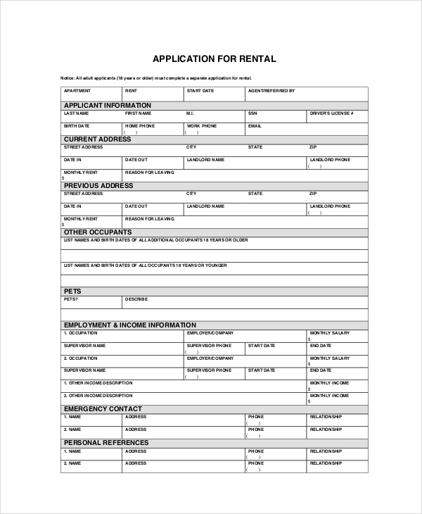 Apartment Application 7+ Free PDF, Word Documents Download