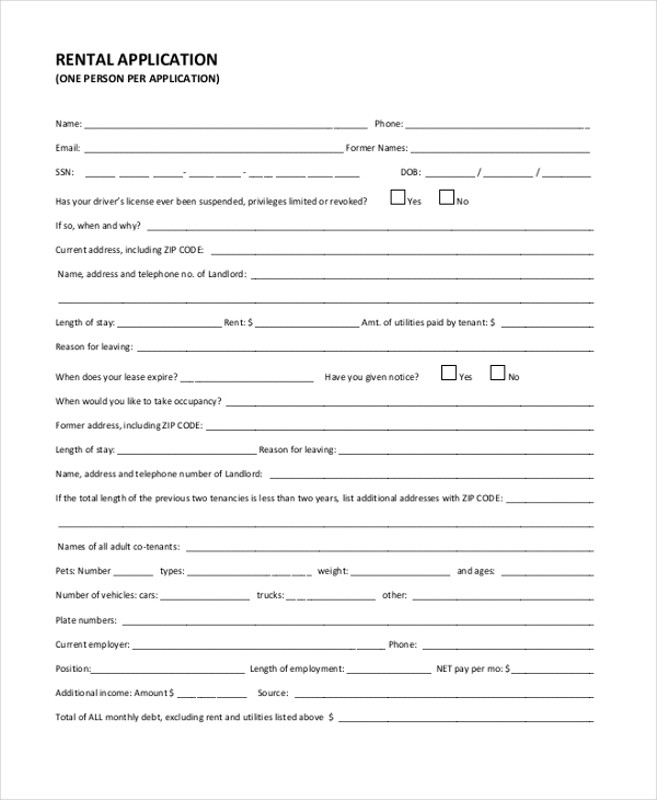 8+ Sample Tenant Application Forms Sample, Example, Format