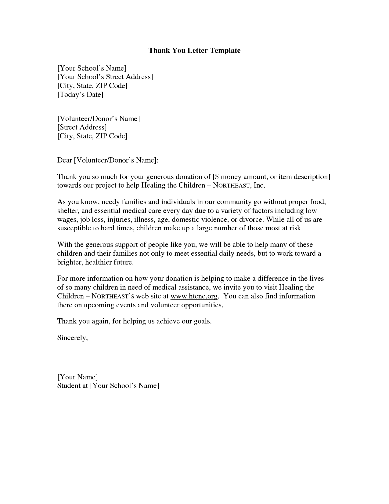 Thank You For Your Help Letter | Crna Cover Letter