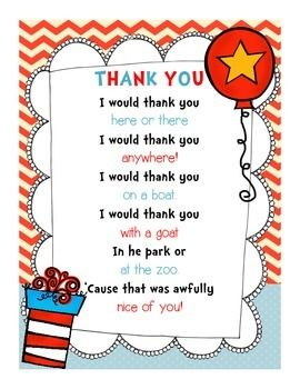 Use this adorable Dr. Seuss themed thank you note for your