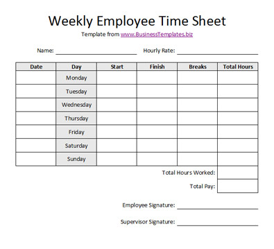 Free Sample Weekly Employee Time Sheet Template