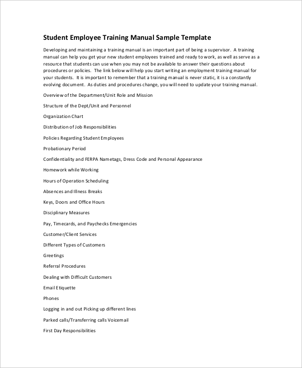 10+ Training Manual Template Free Sample, Example, Format | Free