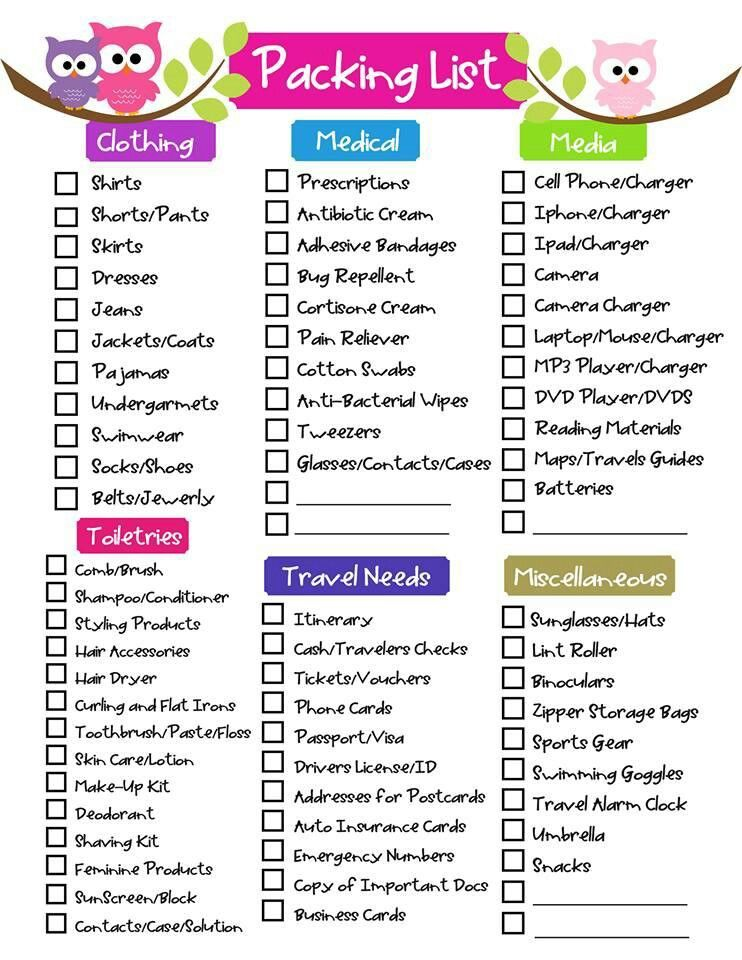 Free Packing List Template for Vacation, Travel or College