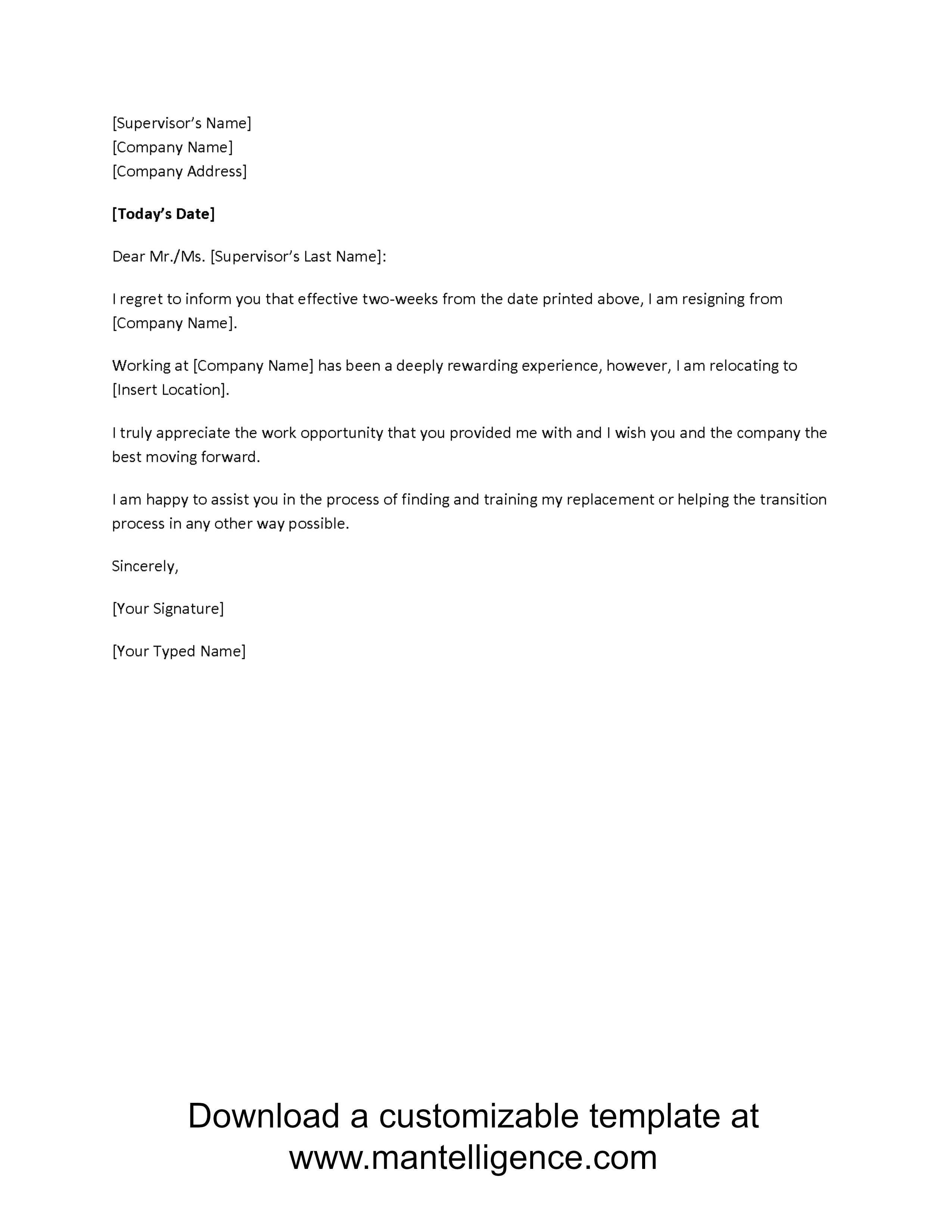 Highly Professional Two Weeks Notice Letter Templates Company PDF