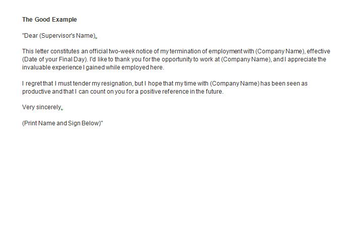 the good example Two weeks notice SampleBusinessResume.