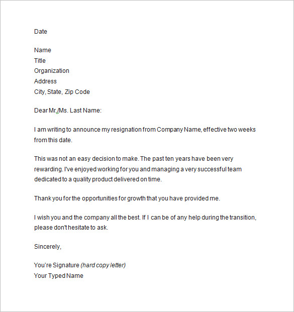 10+ Two Weeks Notice Letter Templates PDF, DOC | Free & Premium