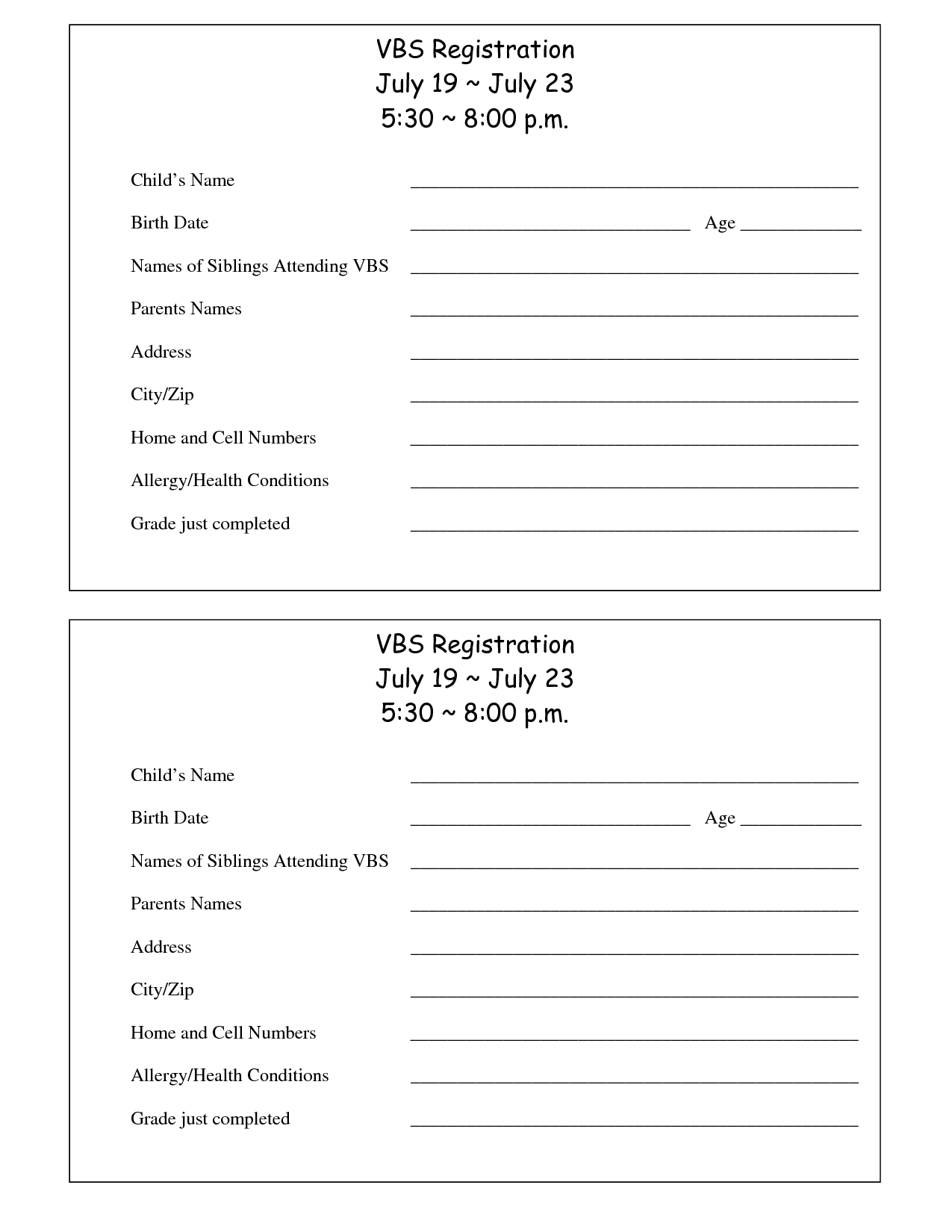 Printable Vbs Registration form Template Conference Ideas
