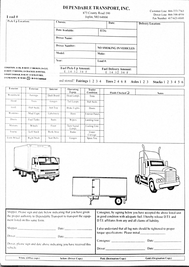 2 Part Daily Truck Inspection Sheets (1,000 Forms) | AW Direct