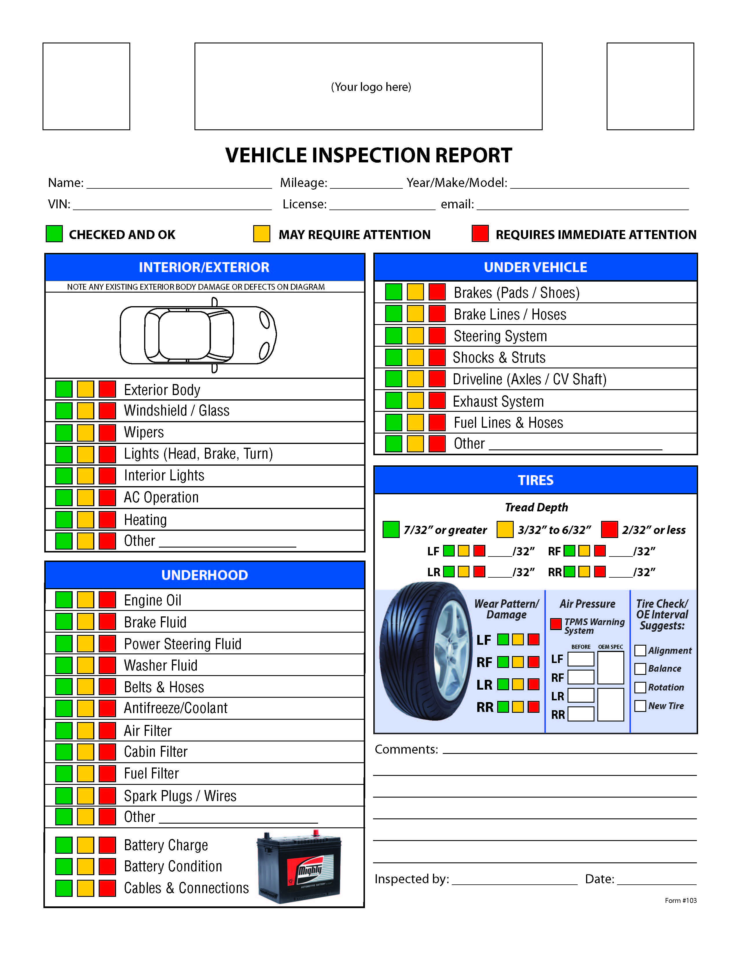 vehicle inspection form pdf Ozil.almanoof.co