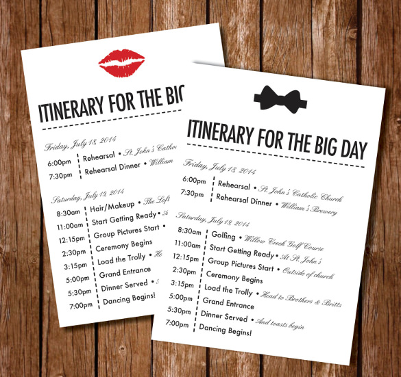 Beach Wedding Itinerary wedding itinerary template 44 free word
