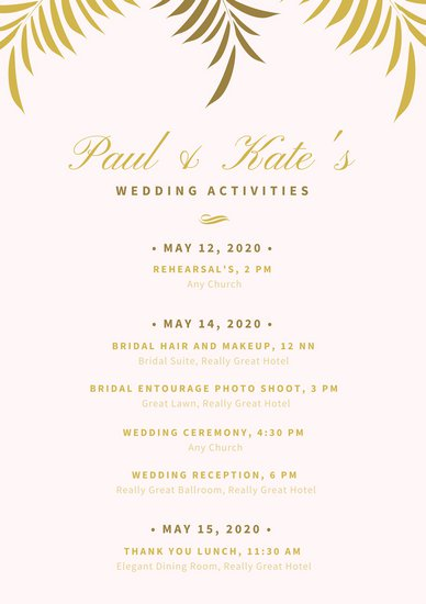 Customize 176+ Wedding Itinerary Planner templates online Canva