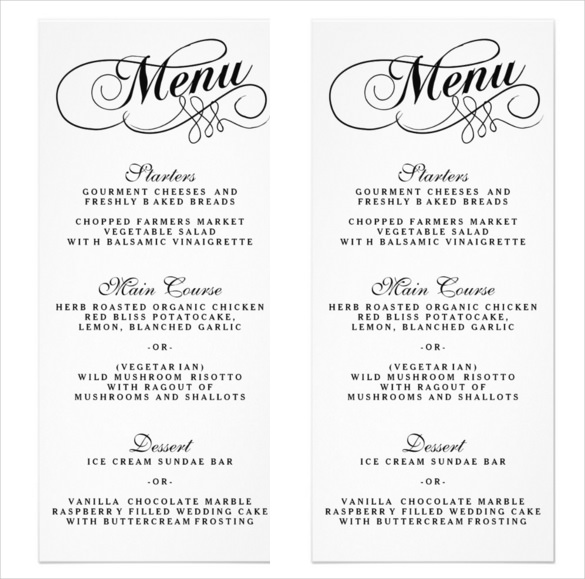 Sample Wedding Menu Template 34 Wedding Menu Templates Free Sample
