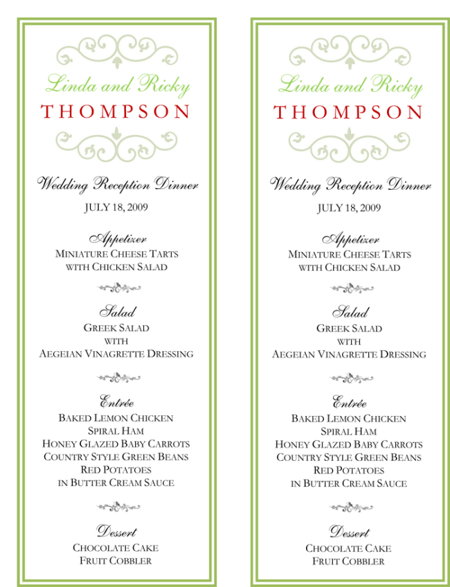 Sample Wedding Menus Wedding Menu Template 5 Free Printable Menu