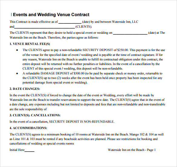 Wedding Vendor Contract Template