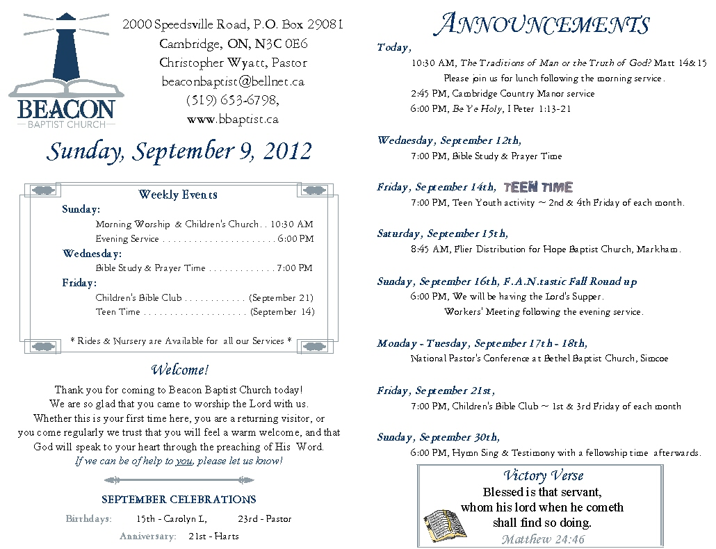 Weekly Bulletin Christ Memorial Church
