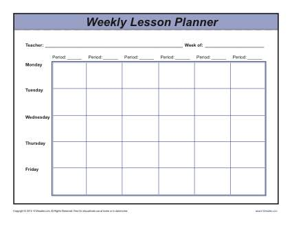 Weekly Multi Period Lesson Plan Template Secondary