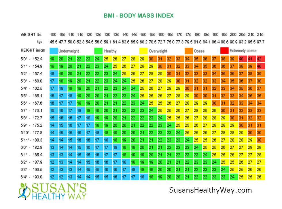 BMI Chart | Susans Healthy Way