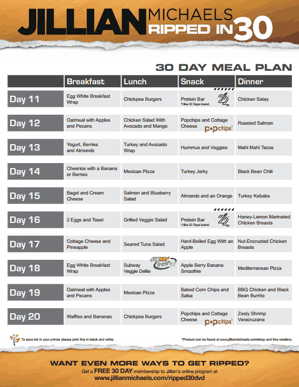 jillian michaels ripped in 30 meal plan v.pdf | Workout