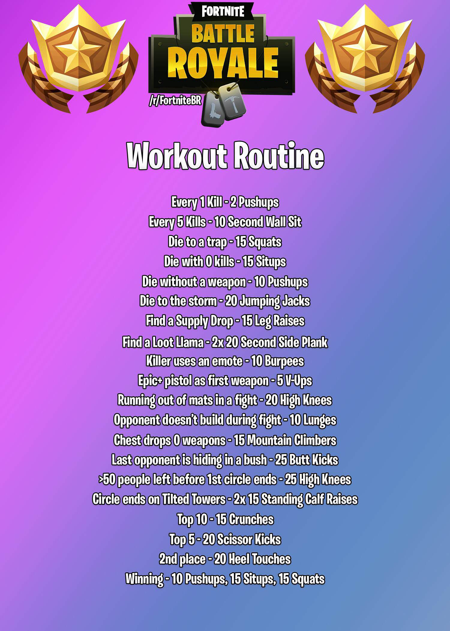 OC] Fortnite Workout Routine : FortNiteBR