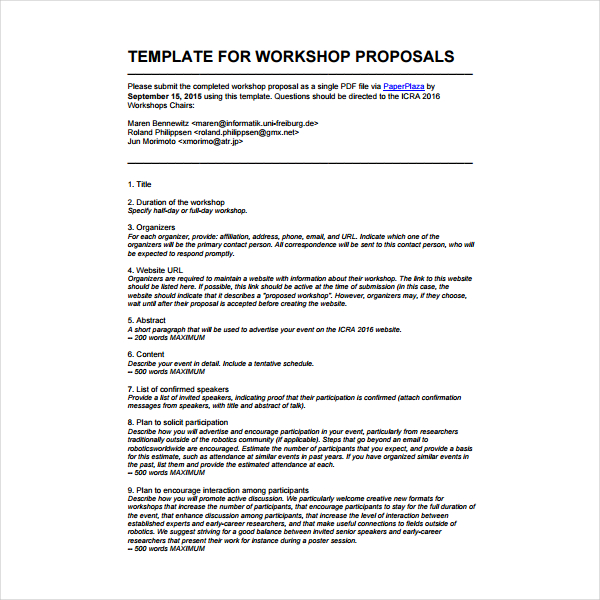 2 How To Write A Workshop Proposal PDF | Free & Premium Templates