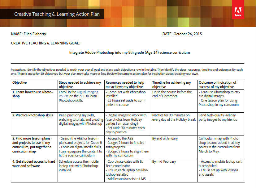 Creative Teaching & Learning Action Plan Template and Sample