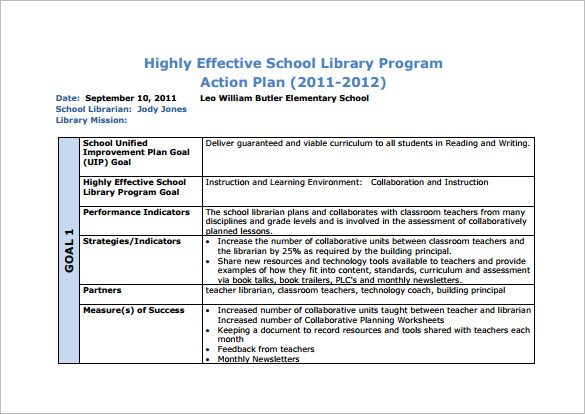 lesson planning templates for library teachers 10 school action