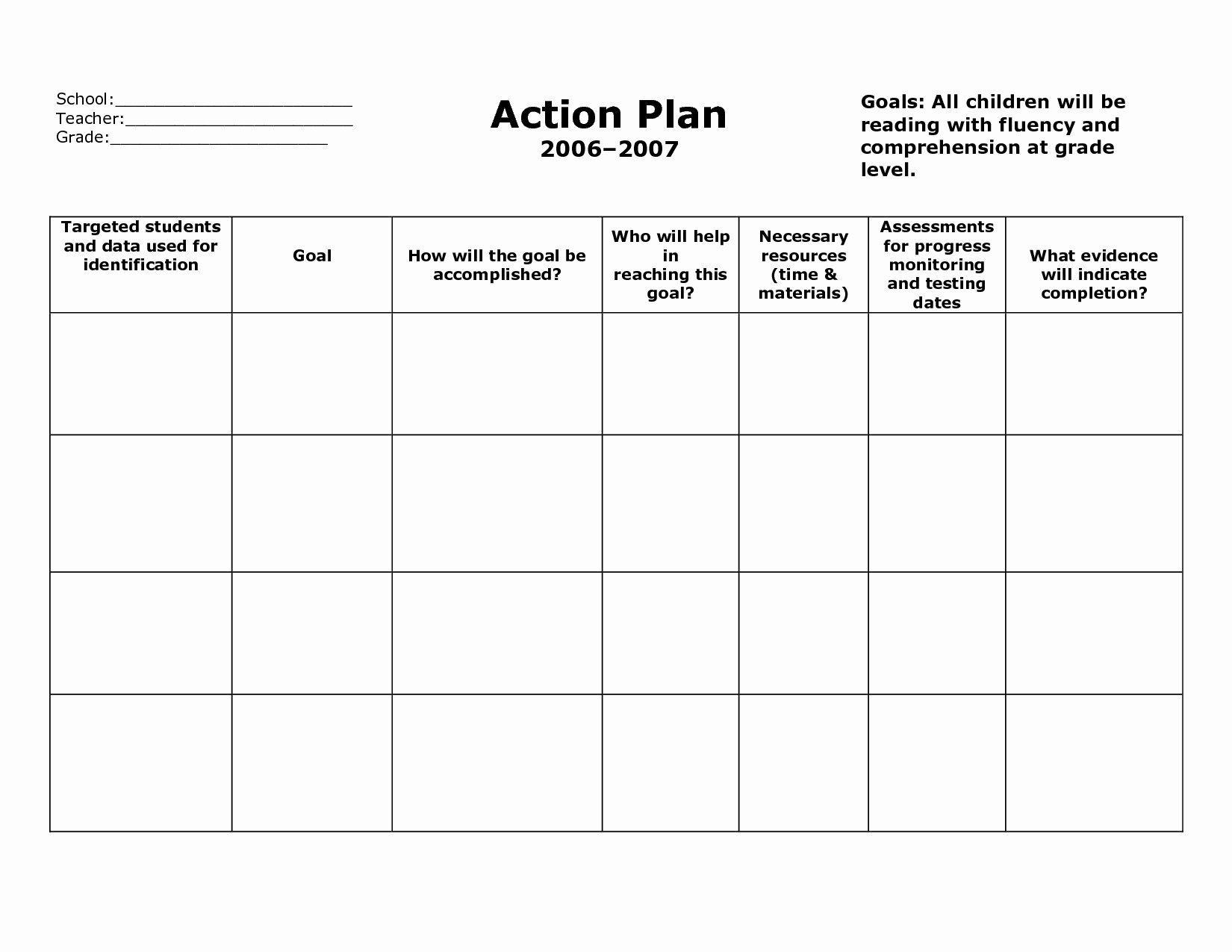 Teaching English Lesson Plan Template Fresh Action Plan Template