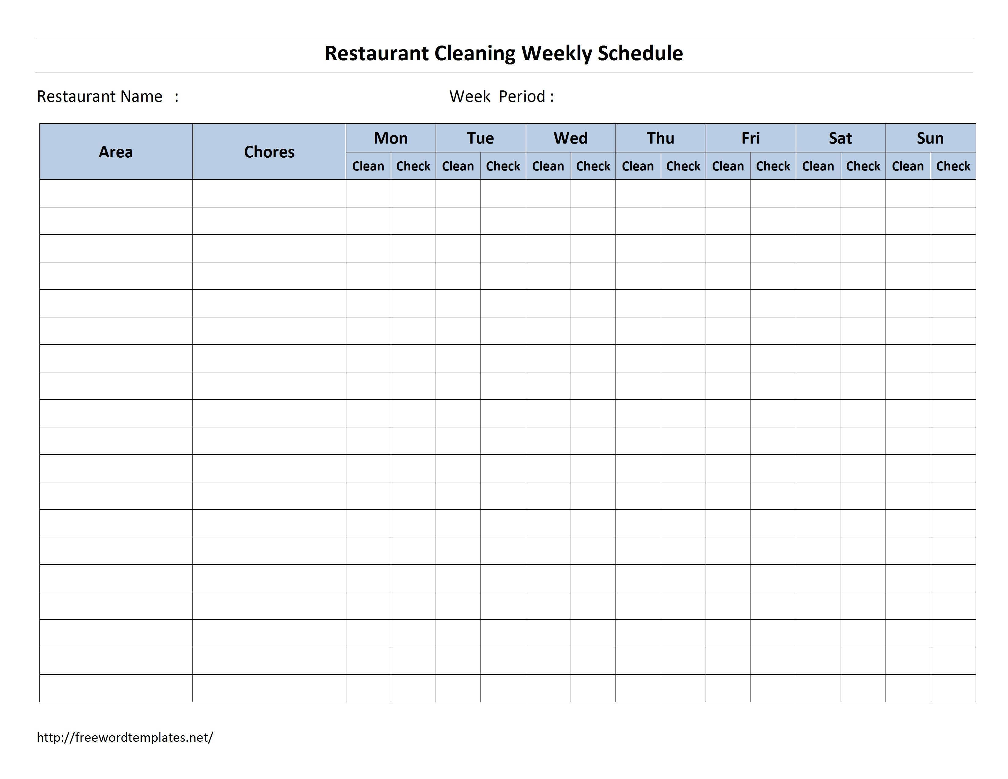 Free Cleaning Schedule Forms | excel format and payroll areas for