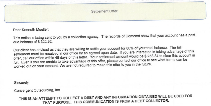 Comcast sent collection agencies after customer who paid all his
