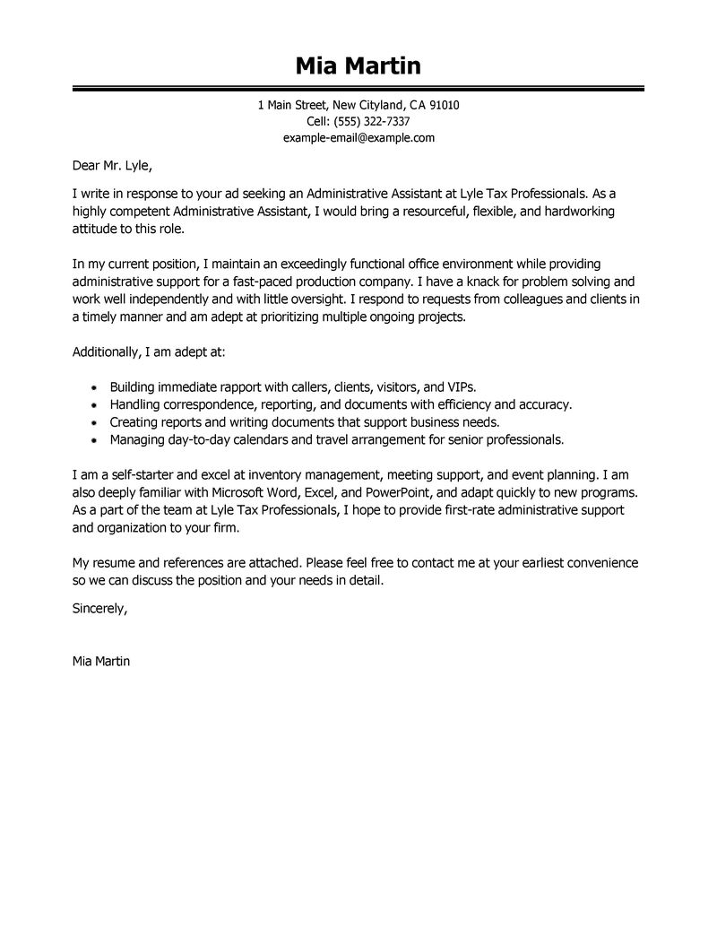 example of cover letter for administrative Kleo.beachfix.co