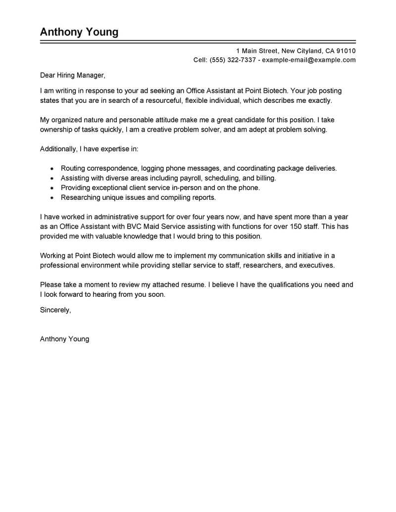 Best Office Assistant Cover Letter Examples | LiveCareer