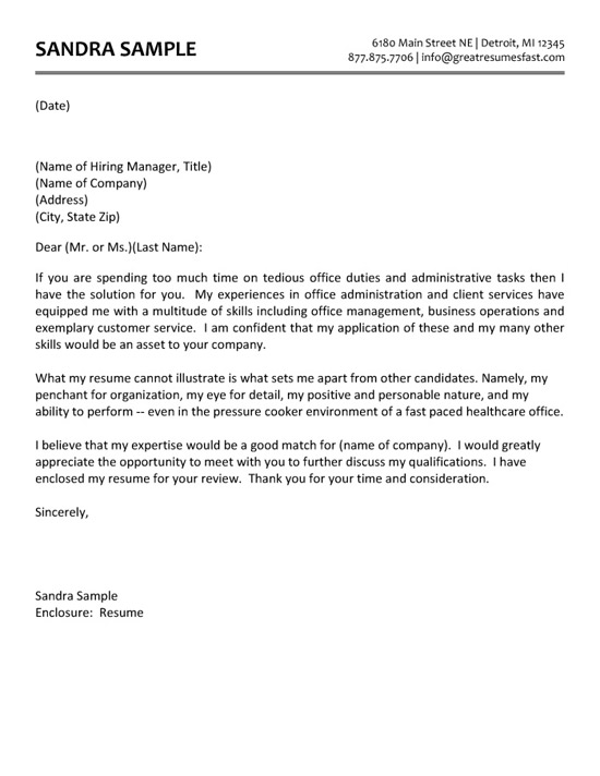 cover letter sample for office job Kleo.beachfix.co