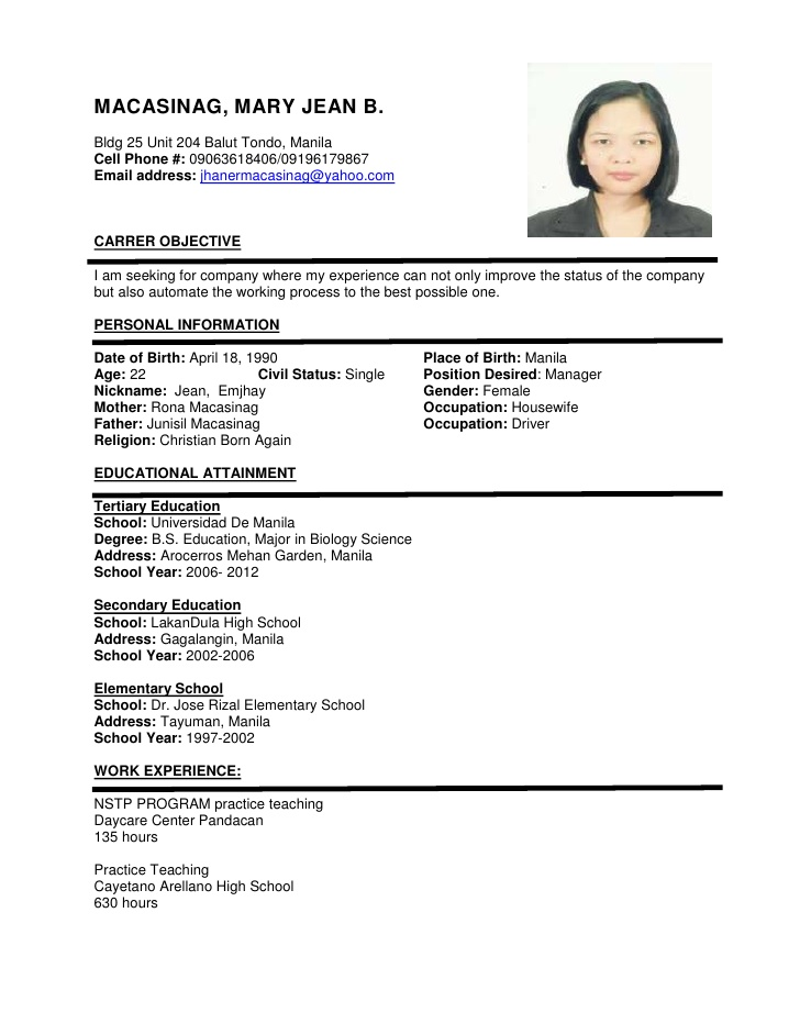 resume format sample Cypru.hamsaa.co